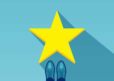 Vector top view of a business man in shoes standing in front of a golden star