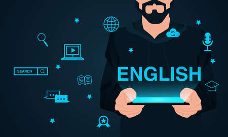 Learning English with new technology concept. Vector of a man holding a tablet computer
