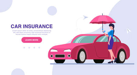 Vector of a driver woman with an umbrella standing near her car.