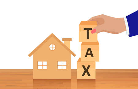 Vector of a house and a businessman composing the word tax from wooden cubes