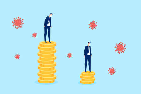 Vector of a businessman standing on a stack of coins looking at his profits going down during coronavirus pandemic Illustration