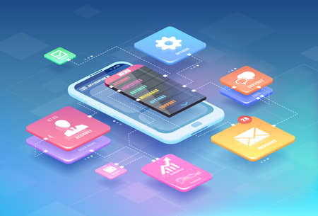 User interface and experience concept. Vector of a smartphone with mobile app icons Illustration