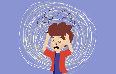 Vector of a stressed anxious frustrated young boy
