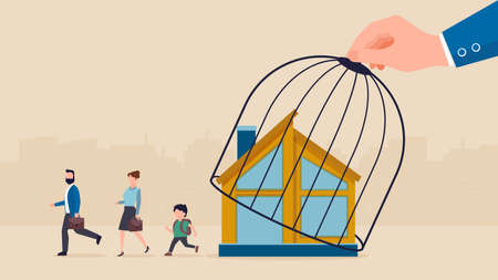 Vector of a big hand lifting a cage of a house letting young family to go back to work and school after coronavirus lockdown