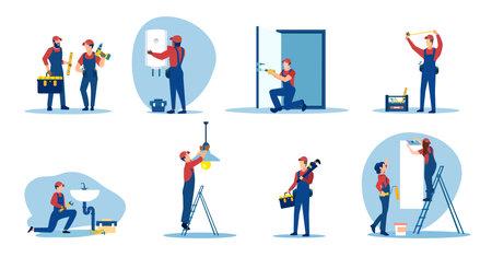 Vector set of repair people, plumbers, electricians, painter renovating an apartment