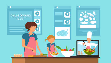 Vector of a mother and a daughter learning recipes online, cooking at home while watching a video of a chef explaining how to prepare healthy food