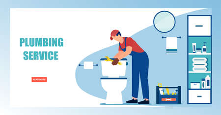 Online plumbing service concept. Vector of a man plumber fixing a toilet