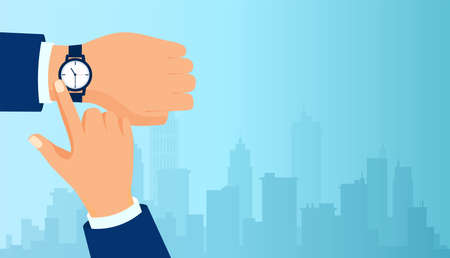 Vector of a businessman hand checking time on a cityscape background.