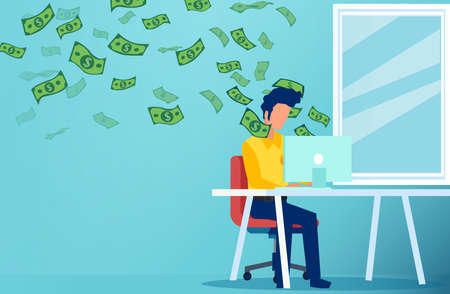 Vector of a young man working from home on computer and earning money