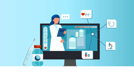 Online medical consultation concept. Vector of a female doctor giving a consultation to a patient via internet Illustration