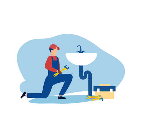 Vector of a plumber with toolbox fixing a faucet