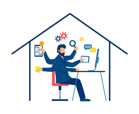 Vector of a multitasking business man working from home Illustration