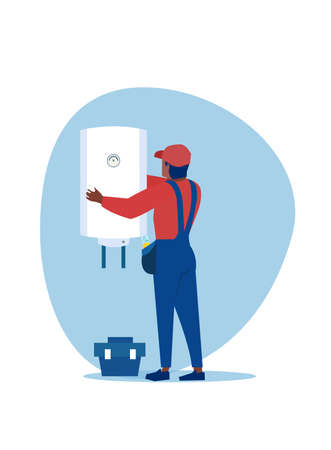Vector of a professional plumber man  installing a water heater, a boiler