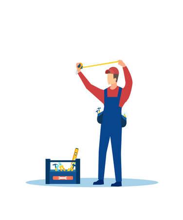 Vector of a handyman in uniform taking measurements Illustration