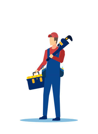 Vector of a handyman with tool box and a wrench isolated on white background