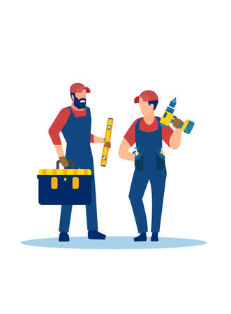 Vector of two handymen with tools isolated on white background