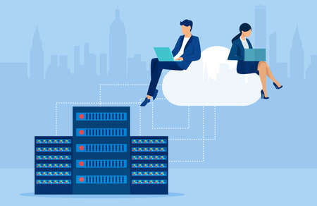 Vector of business people working on laptops using cloud storage service Illustration