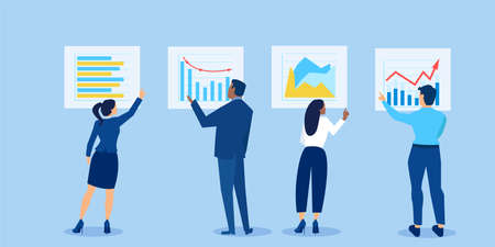 Vector of business people analysing financial reports and investment opportunities reviewing charts and graphs