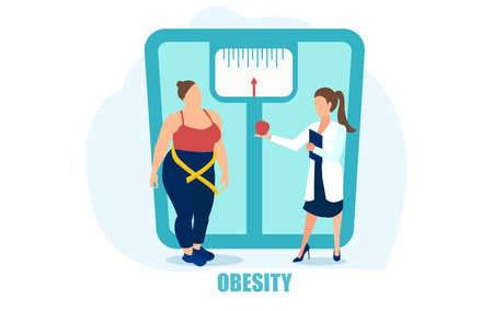 Vector of an overweight woman being advised on a healthy diet