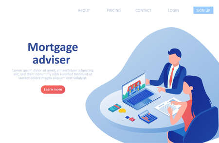 Vector of a financial mortgage advisor giving a consultation to a customer home buyer.