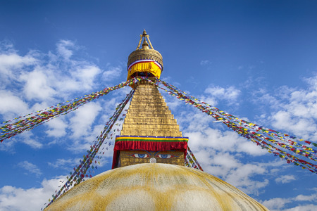 holiest: Detail Boudhanath stupa in Kathmandu. The largest in Nepal, Boudhanath Stupa is revered as the holiest Tibetan Buddhist temple outside Tibet. It was partially destroyed after the earthquake in 2015.