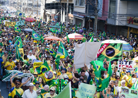 scandals: Anti-government protests in Brazil, asking for Dilma Roussefs impeachment over corruption scandals, rising inflation and economy in crisis