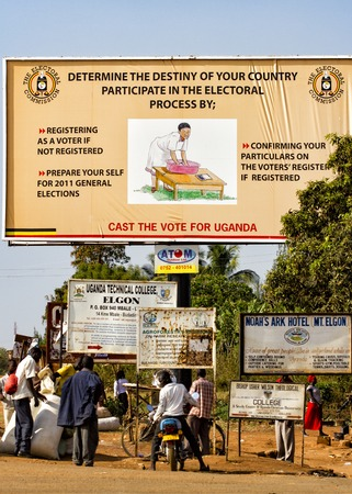 election commission: Mbale, Uganda - February 7, 2011: Ugandan poster calling for general elections