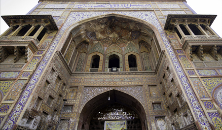 Details of the beautiful Wazir Khan Mosque in the old city center of Lahore, Pakistan