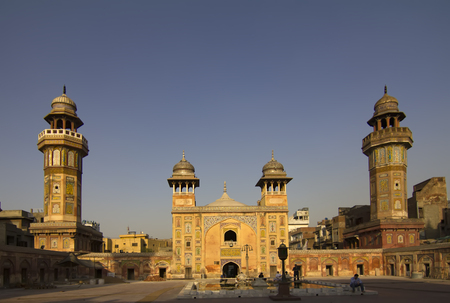 Panorama view of the beautiful Wazir Khan Mosque in the old city center of Lahore, Pakistan