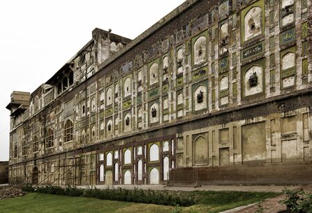 mughal empire: external walls and details of Lahore fort in Punjab, Pakistan Editorial