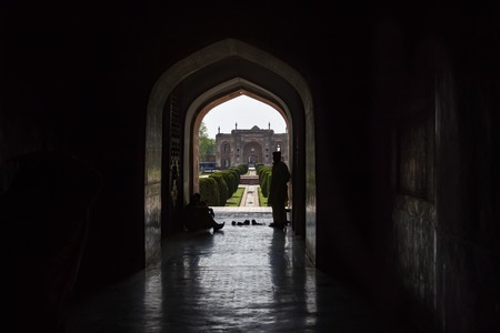 Dark archway leading to the tomb of Jahangir in  Lahore, Pakistan A masterpiece of mughal architecture.