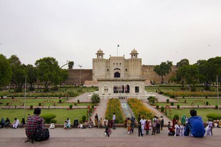 LAHORE, PAKISTAN - APRIL 27, 2013 : Frontal view of the Shahi Qila, the Lahore Fort built in the XVI century