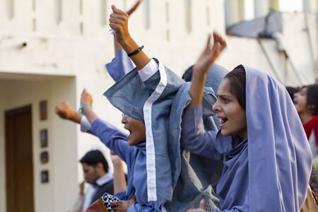 Lahore, Pakistan - May 5, 2013: female muslim students protest at a political rally in Lahore Redakční