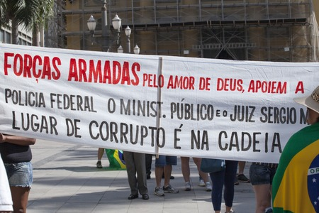 scandals: Campinas, Brazil - August 16, 2015: anti-government protests in Brazil, asking for Dilma Roussefs impeachment over corruption scandals, rising inflation and economy in crisis. Editorial