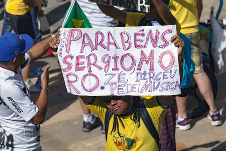 Campinas, Brazil - August 16, 2015: anti-government protests in Brazil, asking for Dilma Roussefs impeachment over corruption scandals, rising inflation and economy in crisis. Redakční