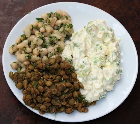 chick pea: potato salad, hummus chickpea, and green chick pea appetizers