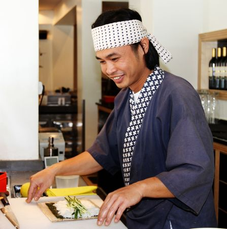 sashimi: chef makeing sushi Stock Photo