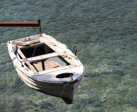 ketch: small wooden fishing boat in the island of Crete