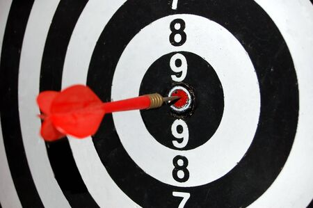 dart in a target Stock Photo