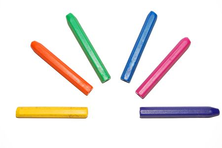isolated crayon colors Stock Photo