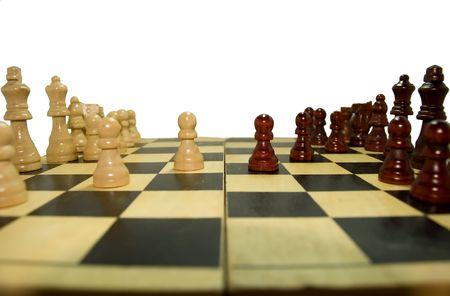 schaakspel geïsoleerd Stockfoto