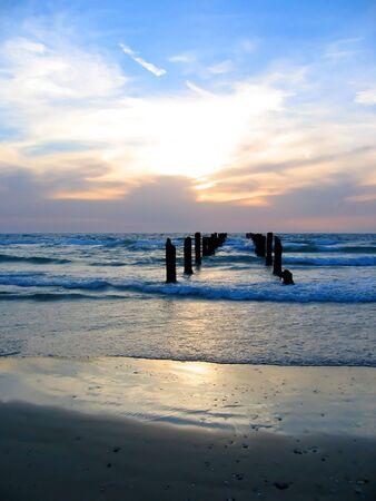pier op zonsondergang Stockfoto