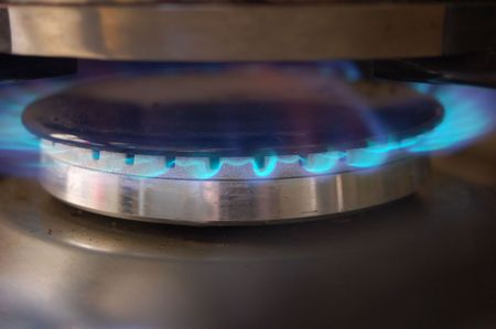 Flames of gas stove Stock Photo