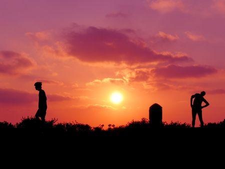 schaduw van de twee mannen op zonsondergang