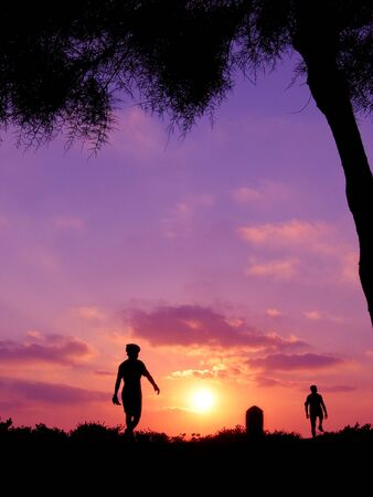 shadow of two men on sunset  Stock Photo