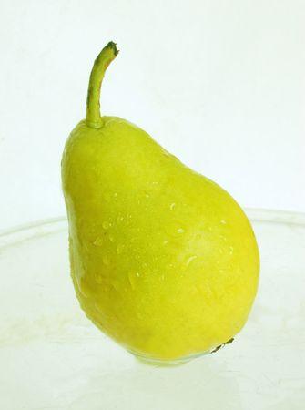 wet green pear