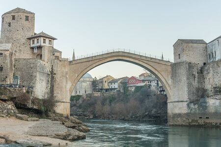 neretva: Old bridge in the city of Mostar, view from the Neretva river