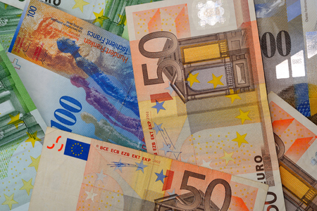 swiss franc note: Money Bank notes Euros and Swiss francs 50 ,100, 200