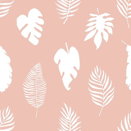 Tropical Leaves Pink Background