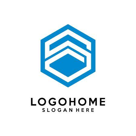 Hexagon letter S architecture logo design vector template, icon, symbol Logo